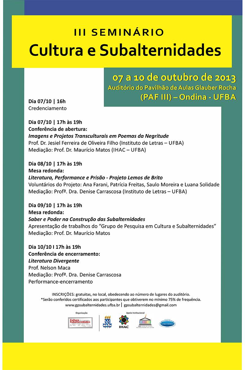 III Seminário Cultura e Subalternidades