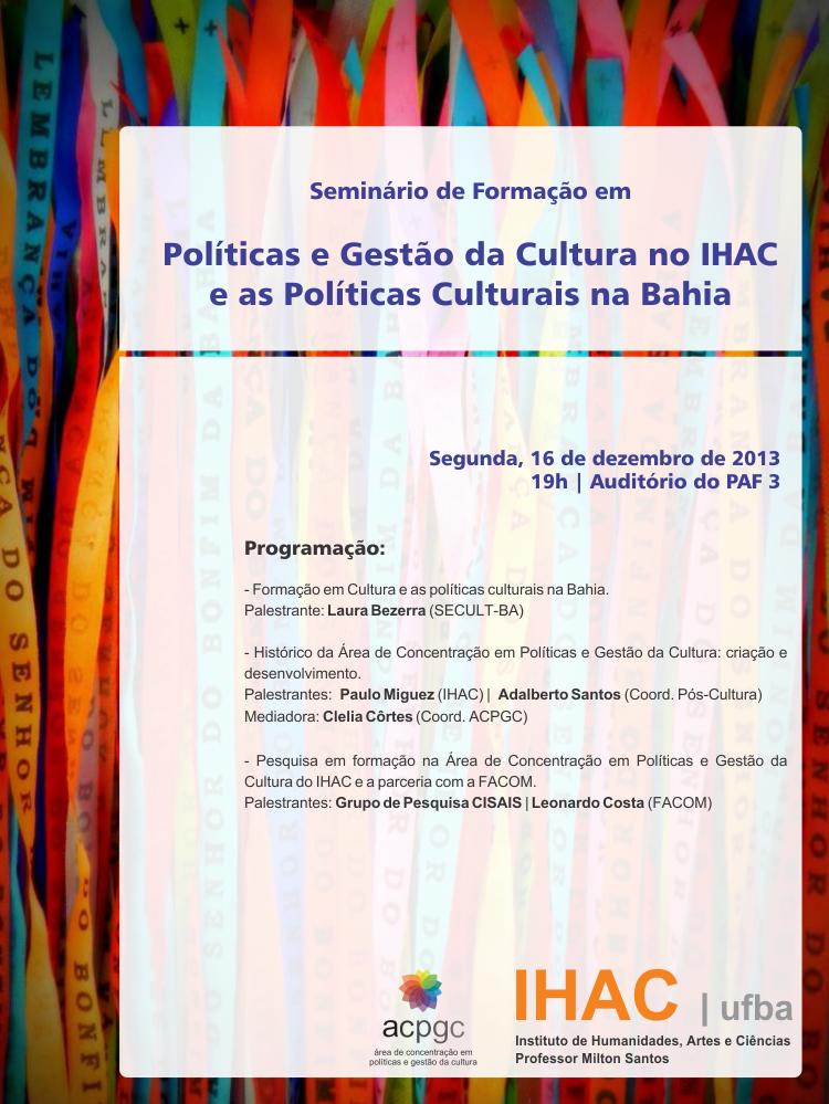 Seminário de Formação em Políticas e Gestão da Cultura