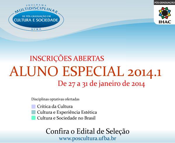 Inscrições para aluno especial no Pós-Cultura!