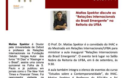 AULA INAUGURAL DO IHAC / MESTRADO EM RELAÇÕES INTERNACIONAIS