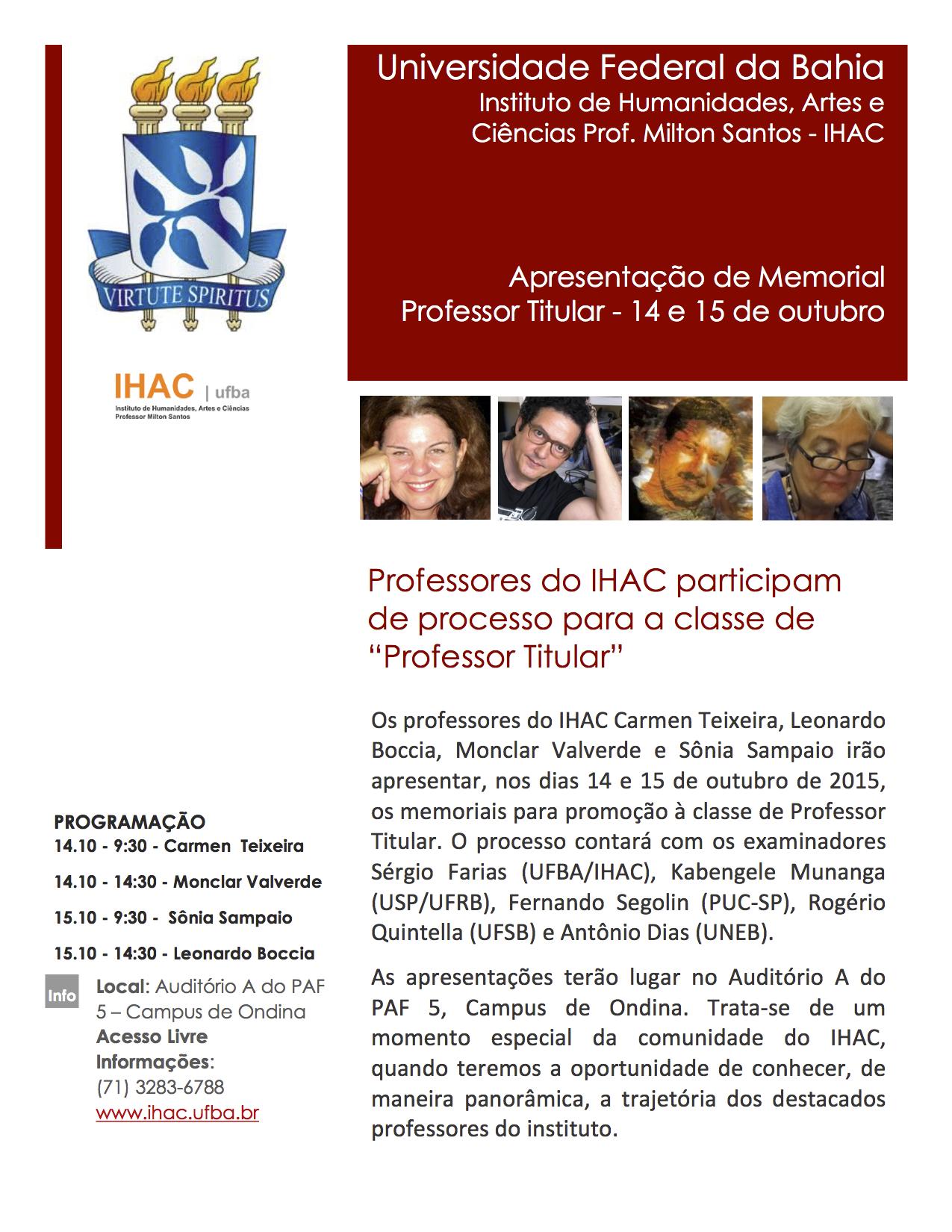 """Professores do IHAC participam de processo para a classe de """"Professor Titular"""""""
