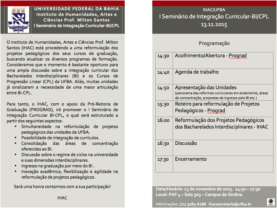 IHAC realiza I Seminário de Integração Curricular