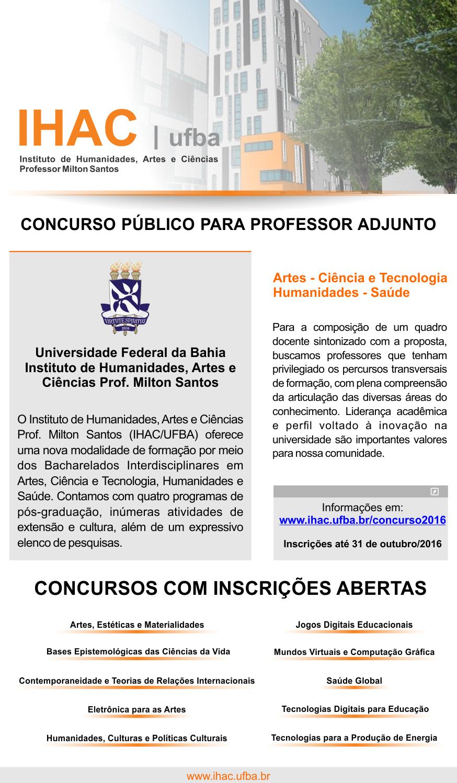 Concurso Público para Professor Adjunto – Inscrições até 31 de outubro de 2016