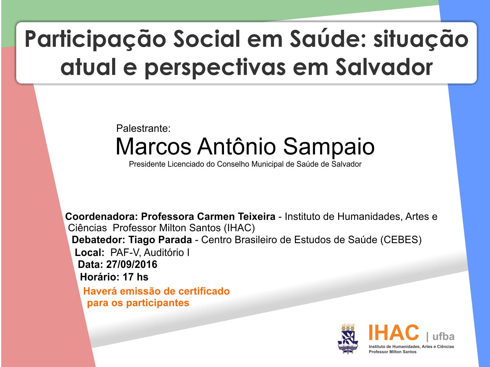 IHAC promove palestra sobre Participação Social em Saúde