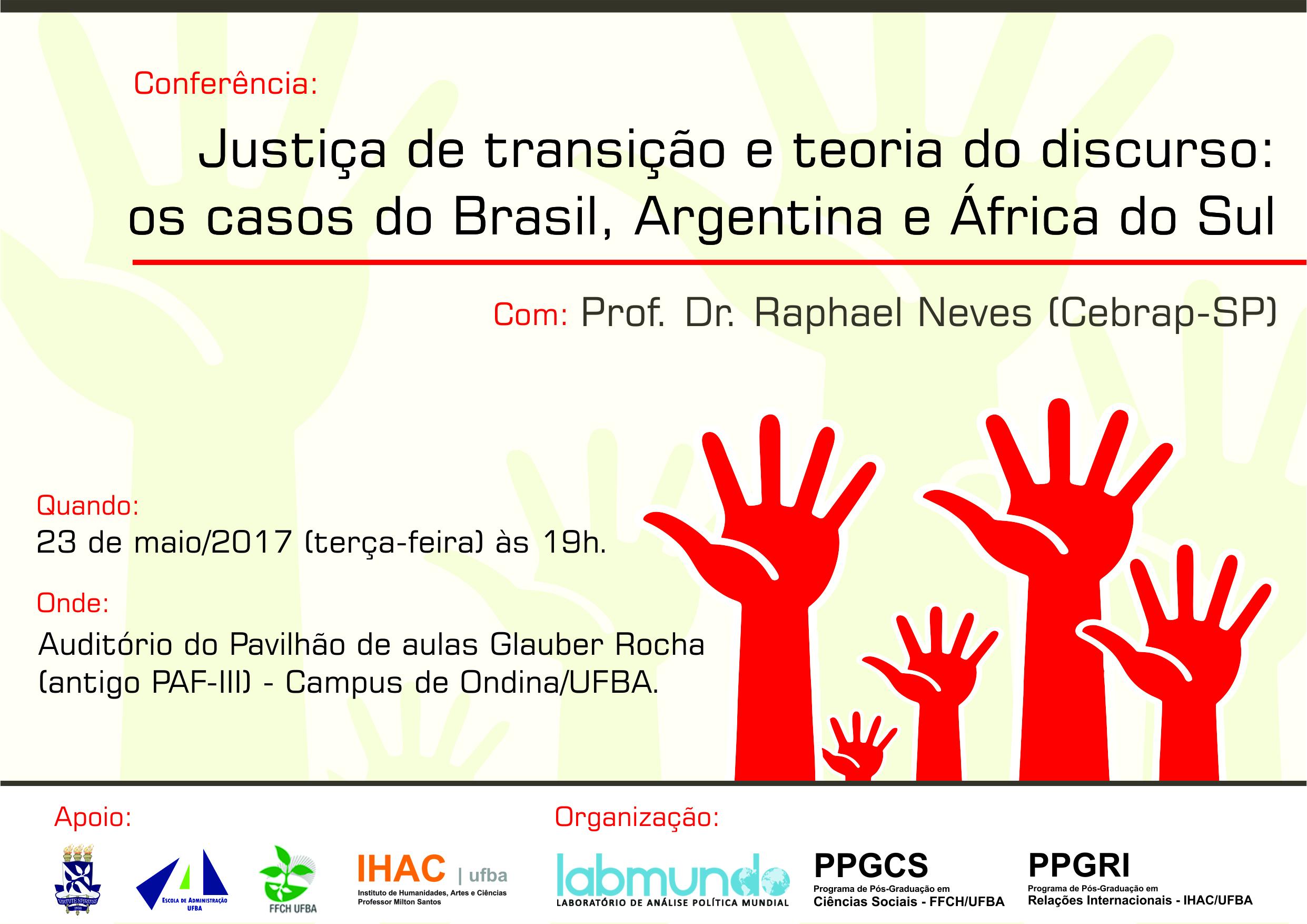 """PPGCS, PPGRI e Labmundo realizam a conferência """"Justiça de transição e teoria do discurso: os casos do Brasil, Argentina e África do Sul"""" na próxima terça-feira, 23."""