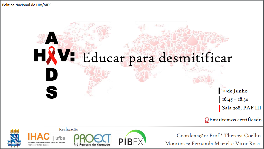 """Próximo encontro dialógico """"AIDS: Educar para desmistificar"""" acontece no dia 20 de junho no PAF-III, Ondina, com emissão de certificados"""