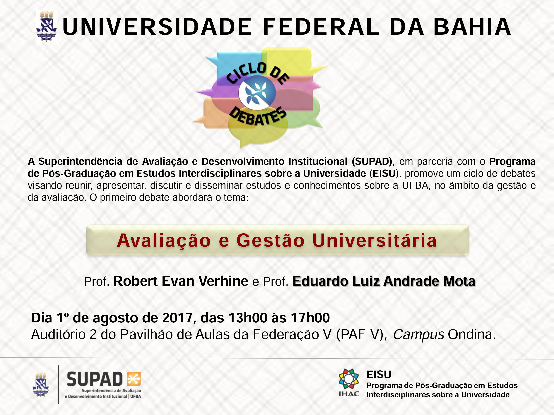 SUPAD e EISU realizam na próxima semana ciclo de debates sobre Avaliação e Gestão Universitária