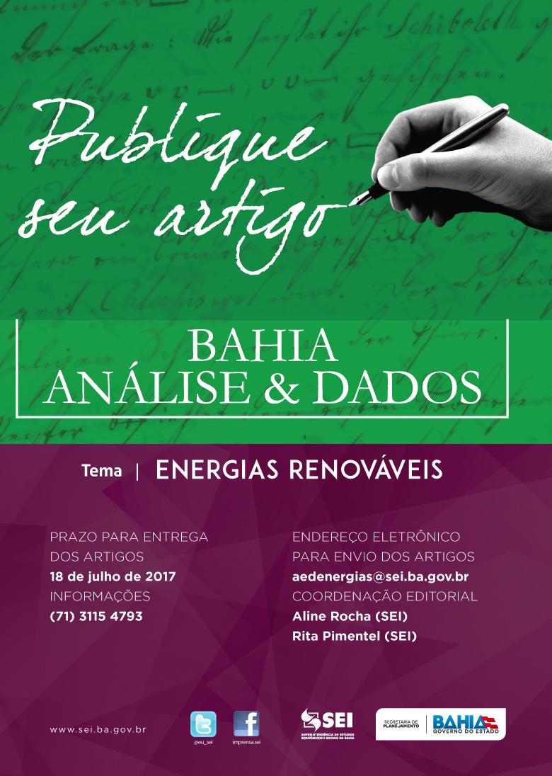 Superintendência de Estudos Econômicos e Sociais da Bahia (SEI) receberá artigos para publicação na revista Bahia Análise & Dados até o dia 18 de julho