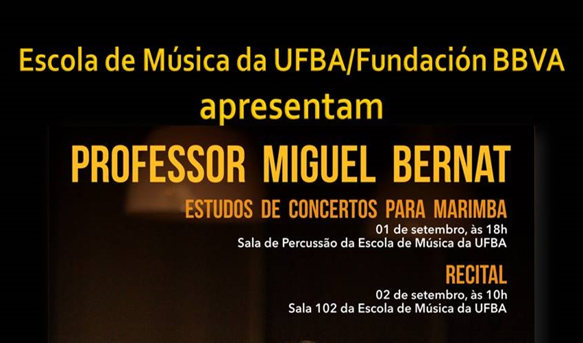 Percussionista espanhol apresenta estudos de concertos para marimba e recital na Escola de Música da UFBA