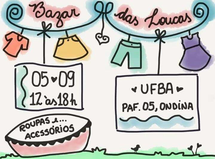 Bazar das Loucas acontece no dia 5 de setembro no PAF-V, campus de Ondina da UFBA