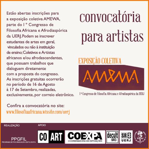 Inscrições abertas para a exposição coletiva AMEWA, do 1º Congresso de Filosofia Africana e Afrodiaspórica da UERJ