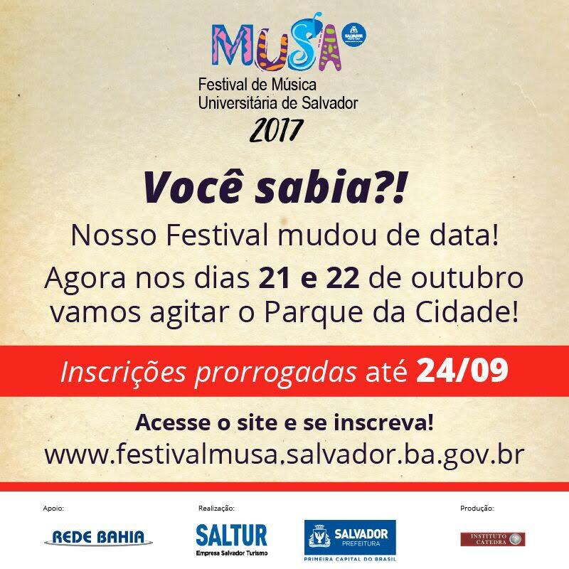 Festival de Música Universitária de Salvador – MUSA 2017 acontece em novas datas