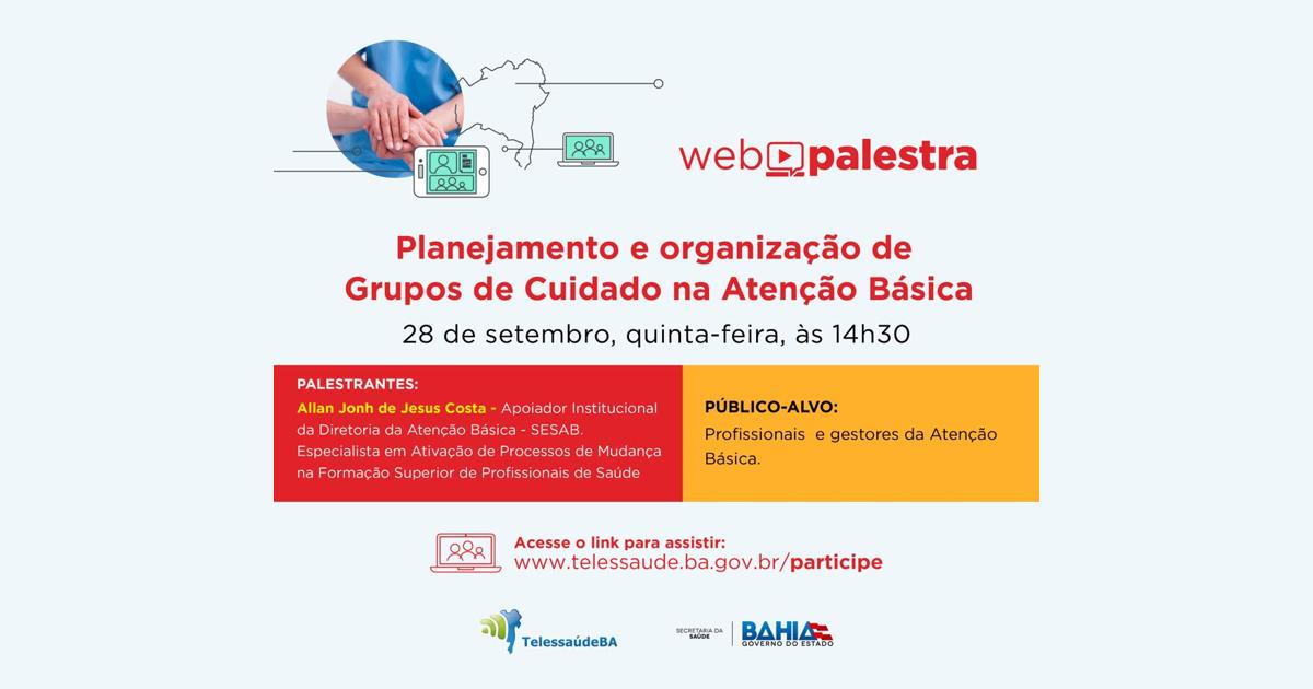 Projeto TelessaudeBA realiza webpalestra gratuita nesta quinta
