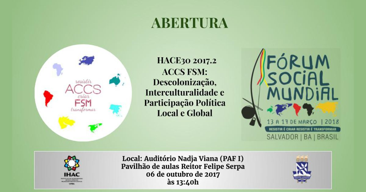 Abertura de ACCS ligada ao Fórum Social Mundial acontece nesta semana