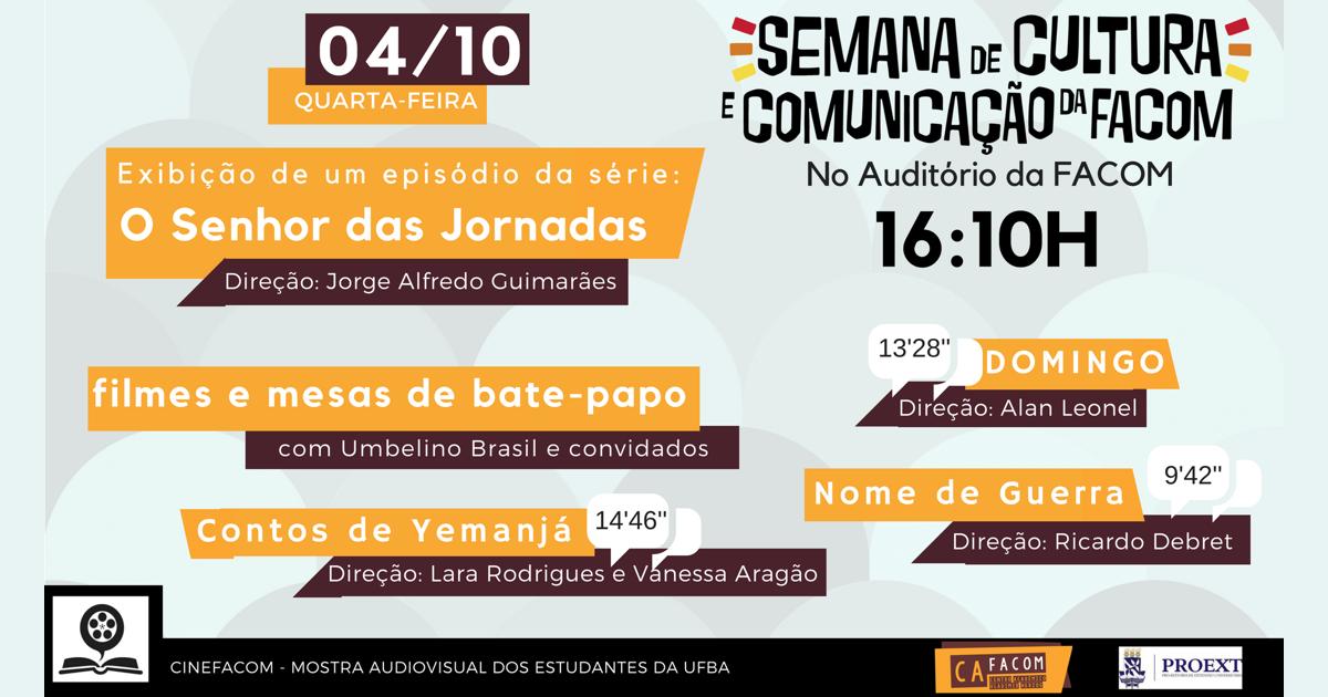 Exibições e bate-papo marcam a Semana de Cultura e Comunicação da Facom