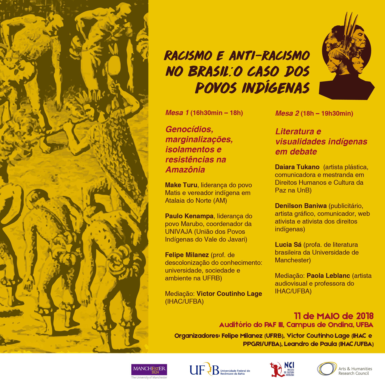 """""""Racismo e antirracismo no Brasil: o caso dos povos indígenas"""" –  dia 11 de maio no PAF-3"""