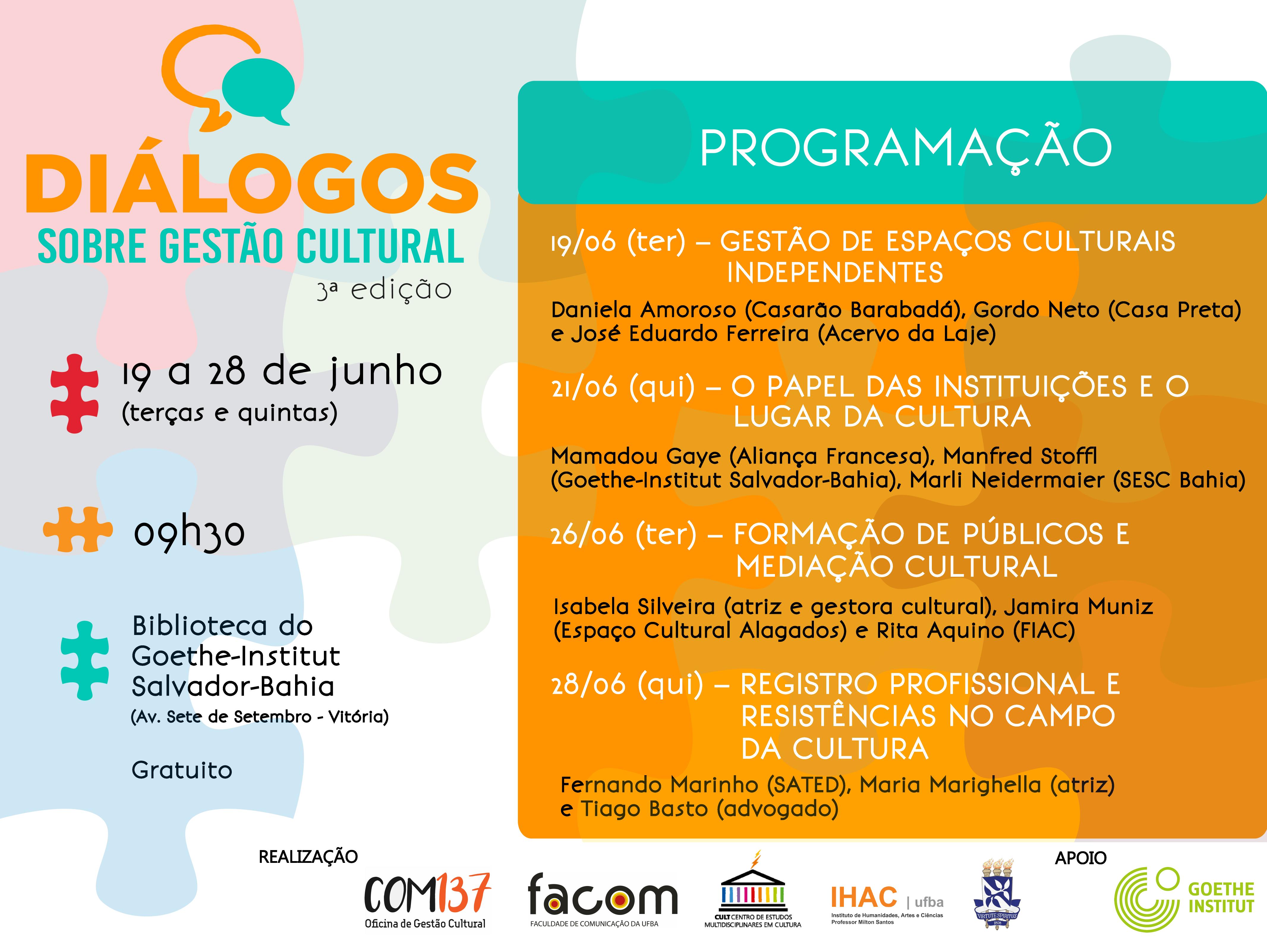 """Terceira edição do """"Diálogos Sobre Gestão Cultural"""" acontece até o dia 28 de junho"""