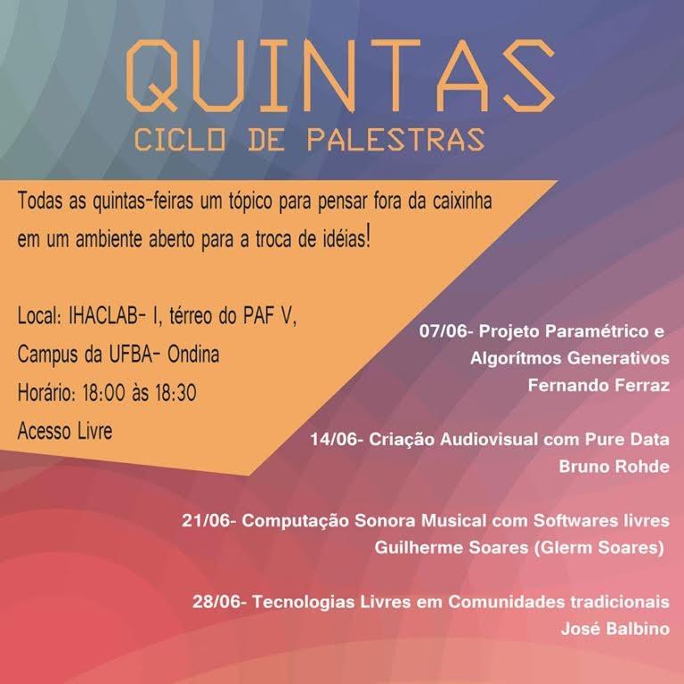 """Projeto """"Quintas"""", do IHACLab-i, divulga programação de palestras para junho"""