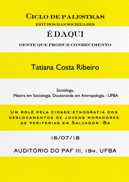 """Componente Curricular """"Estudos das Sociedades"""" promove nova palestra no dia 16 de julho"""