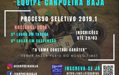 Equipe Carpoeira Baja seleciona novos integrantes em 2019.1. Estudantes do BI em C&T podem participar.