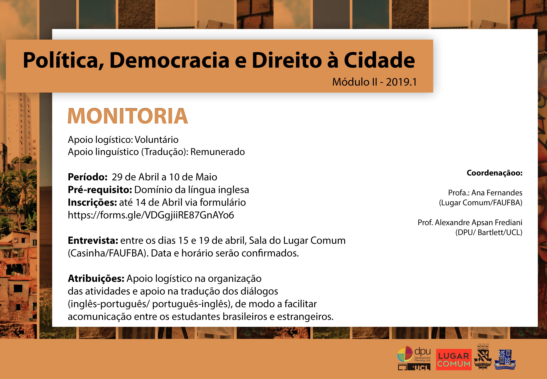 Últimos dias para inscrição na vaga de monitoria da disciplina 'Política, Democracia e Direito à Cidade'