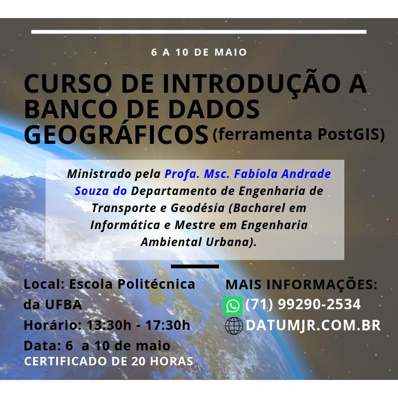 """Datum Engenharia Jr. oferece curso de """"Introdução a Banco de Dados Geográficos"""" em maio. Estudantes do BI em C&T podem participar."""