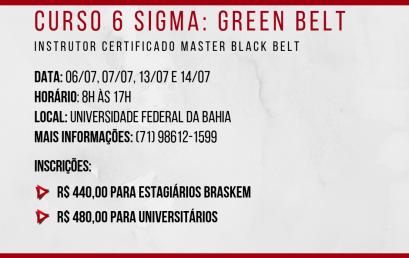 Empresa Júnior de Engenharia Química da UFBA promove curso de Green Belt