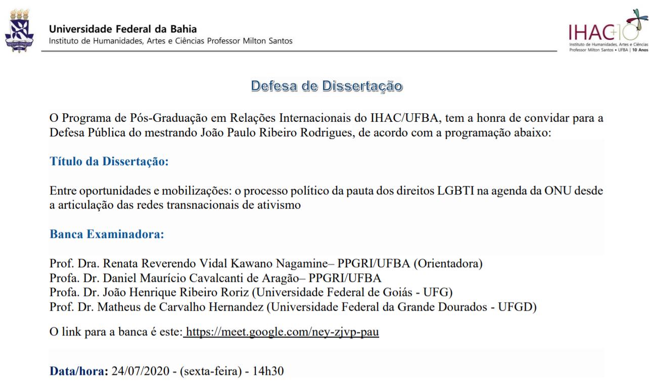 [Defesa de dissertação] Entre oportunidades e mobilizações: o processo político da pauta dos direitos LGBTI na agenda da ONU desde a articulação das redes transnacionais de ativismo