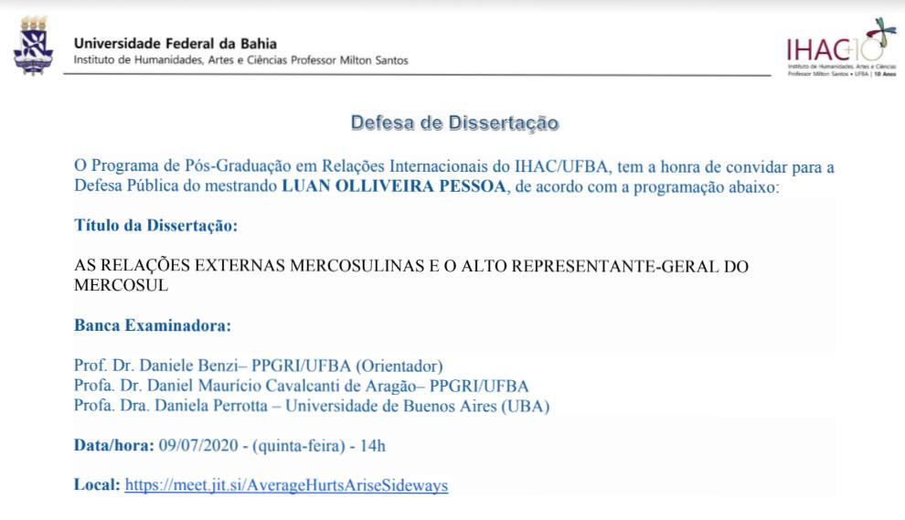 [Defesa de dissertação] As relações externas mercosulinas e o alto representante-geral do Mercosul
