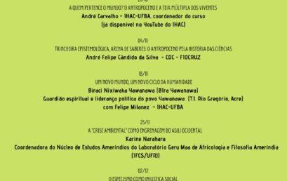 """Inscrições abertas para o curso """"As muitas vozes do Antropoceno: debates em ciência, cultura, natureza e sociedade"""""""