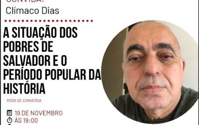 Edição de novembro do PET IHAC Convida recebe o professor Clímaco Dias (IGEO/UFBA)