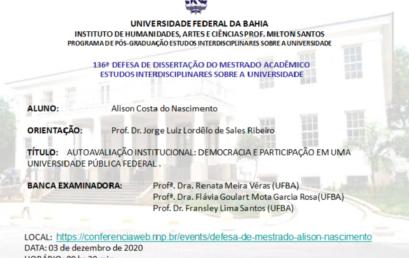 Autoavaliação institucional: democracia e participação em uma universidade pública federal Copy