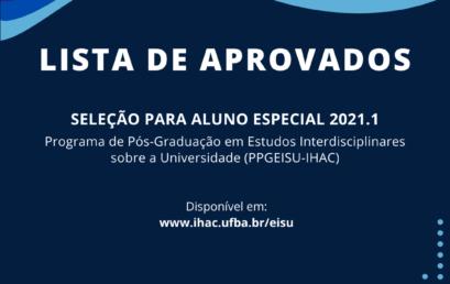 PPGEISU divulga lista de aprovados no processo seletivo de Alunos Especiais 2021.1