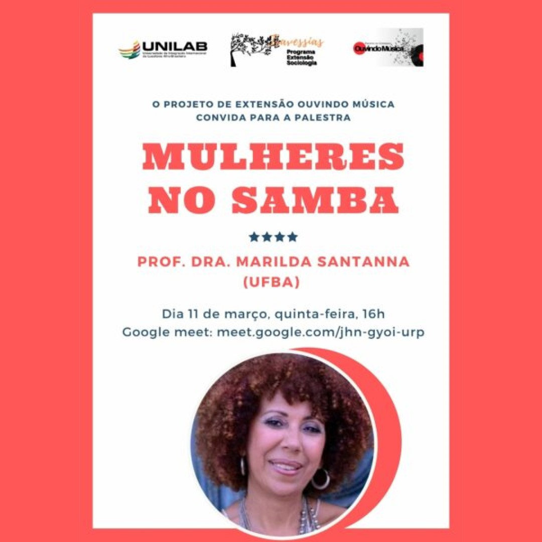 "Professora Marilda Santanna ministra palestra ""Mulheres no Samba"""