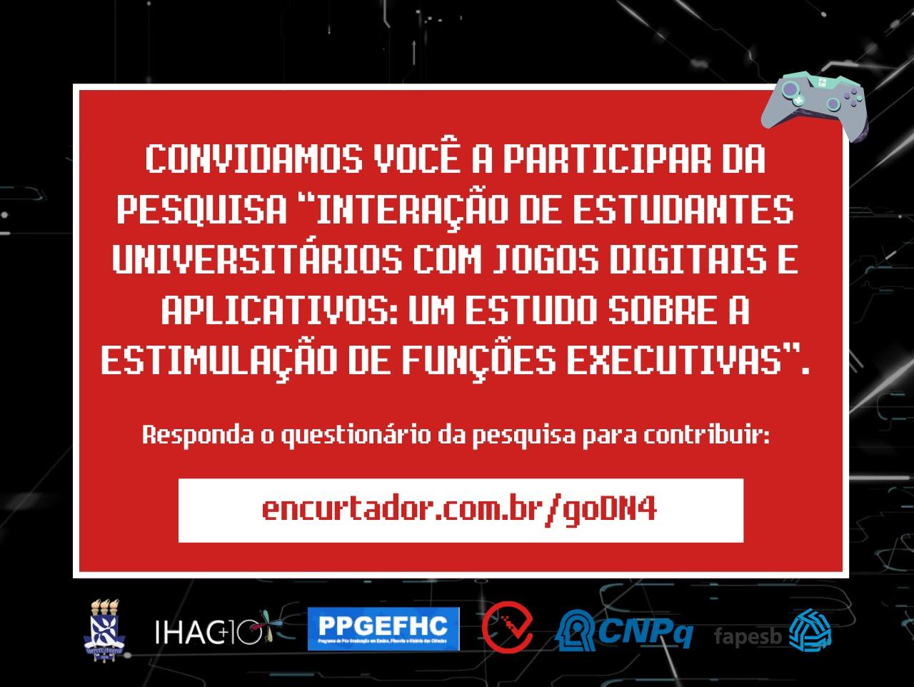 """Pesquisa """"Interação de estudantes universitários com jogos digitais e aplicativos"""" pode ser respondida até o dia 30/03"""