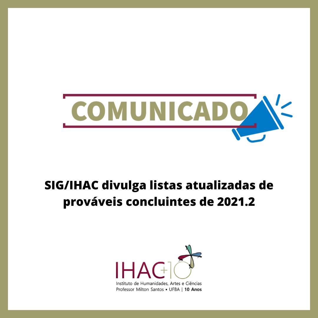 SIG/IHAC divulga listas atualizadas de prováveis concluintes de 2021.2
