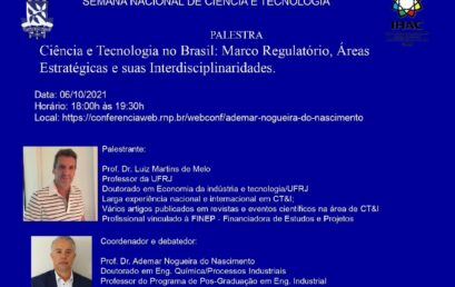 Palestra discute ciência e tecnologia no Brasil com participação de docente do IHAC