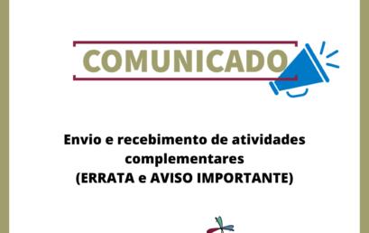 Envio e recebimento de atividades complementares (ERRATA e AVISO IMPORTANTE)